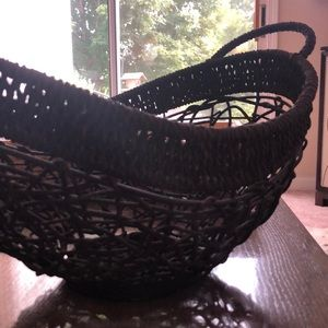 Brown woven wooden basket with handles!